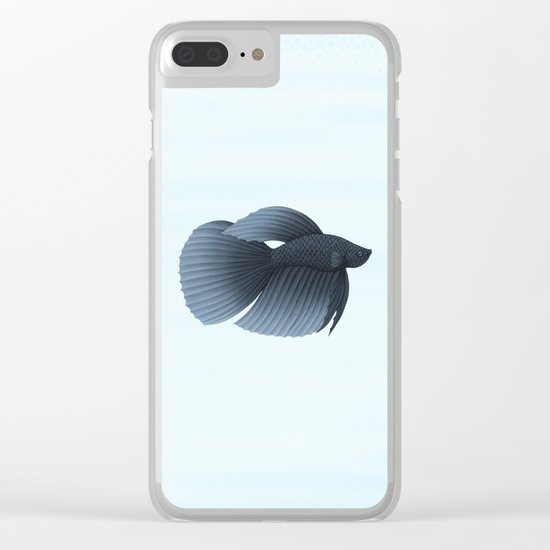 betta splendens black veiltail male Clear iPhone Case