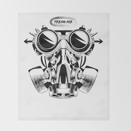 Steampunk vintage design vector drawing. gas mask punk respirator. Throw Blanket