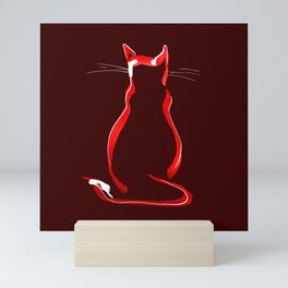 Sitting Cat from behind in Claret Mini Art Print
