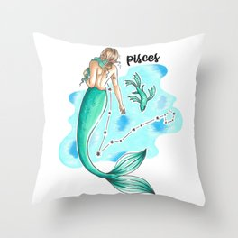 Pisces Mermaid Throw Pillow