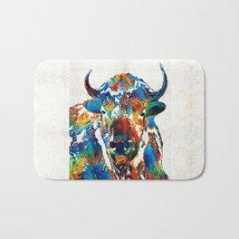 Colorful Buffalo Art - Sacred - By Sharon Cummings Bath Mat
