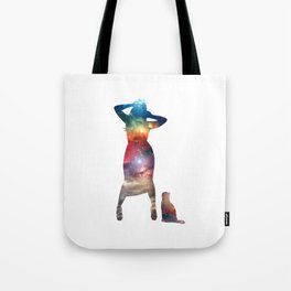 Rainbow Cat Girl Tote Bag