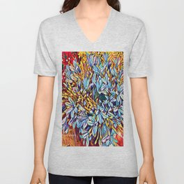 Blues Bouquet with Yellow and Red Unisex V-Neck