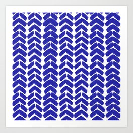 Hand-Drawn Herringbone (Navy Blue & White Pattern) Art Print