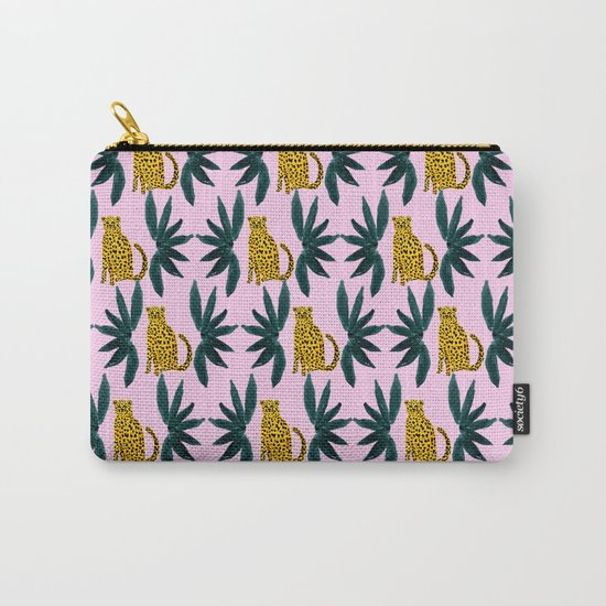 Cheetah and Leaves Carry-All Pouch
