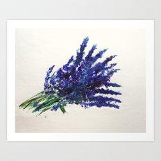 Fresh Cut Lavender Watercolors On Paper Art Print
