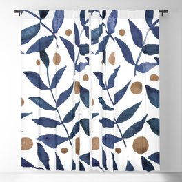 Watercolor berries and branches - indigo and beige Blackout Curtain