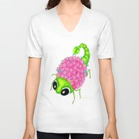 insect V-neck T-shirts featuring Flower Insect by KeijKidz