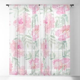 Watercolor Peonie with greenery Sheer Curtain