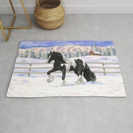 Black & White Pinto Gypsy Vanner Draft Horse In Snow Rug