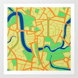 Seamless pattern of a city map Art Print