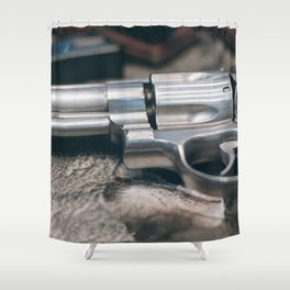 Closeup of powerful handgun. Pistol Revolver Handgun Shower Curtain