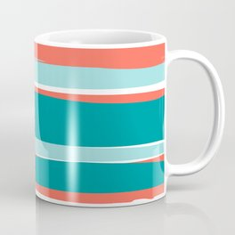 Colorful Stripes, Coral, Teal and Aqua Coffee Mug