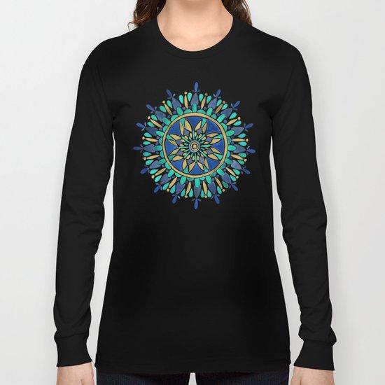 Mandala – Gold & Turquoise Long Sleeve T-shirt