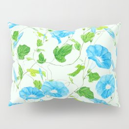 blue morning glory pattern Pillow Sham