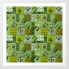 Patchwork in green Art Print