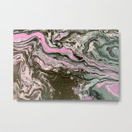 Fluid Art Acrylic Painting, Pour 34, Black, Gray, Pink & White Blended Color Metal Print
