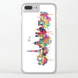 Paris Skyline Silhouette Clear iPhone Case