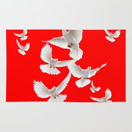 FLOCK OF WHITE PEACE DOVES ON RED COLOR Rug
