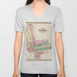 Map of Columbus 1872 Unisex V-Neck