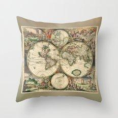 Old map of world hemispheres (enhanced) Throw Pillow