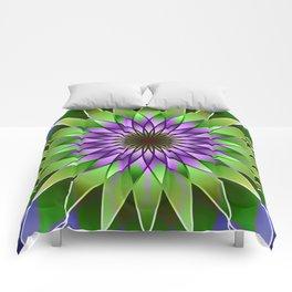 Lavender lotus mandala Comforters