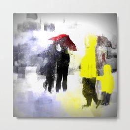 Two Yellow Raincoats Metal Print