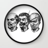 putin Wall Clocks featuring Lenin Stalin Putin by Pavlo Tereshin