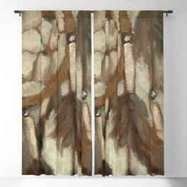 Native American Dreamcatcher Spirituality Still Life Impressionist Painting in Gray and Tan Blackout Curtain