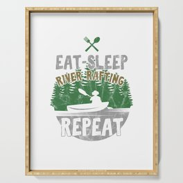 Eat Sleep River Rafting Awesome Rafter Gifts Raft Serving Tray