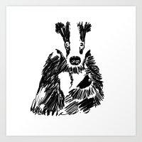 badger Art Prints featuring Badger by Digital Prophet