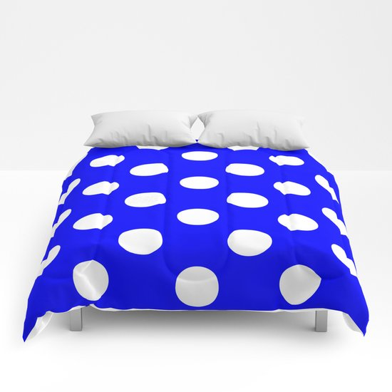 Polka Dots (White/Blue) Comforters