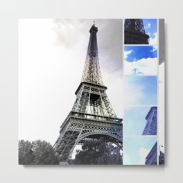 Eiffel Tower Paris in Black and White with Blue Stripe Metal Print