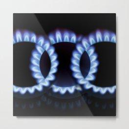 Blue round flames Metal Print