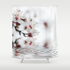 white cherry blossom and water reflection Shower Curtain