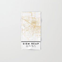 SIEM REAP CAMBODIA CITY STREET MAP ART Hand & Bath Towel