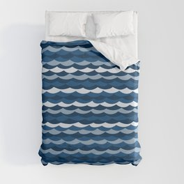 Classic Blue Wave Pattern Duvet Cover