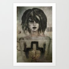 girl / cross Art Print