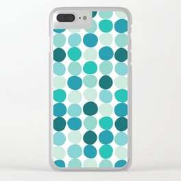 Midcentury Modern Dots Blue Clear iPhone Case