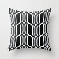 bauhaus Throw Pillows featuring Bauhaus Type Black and White Art by Addison Barker