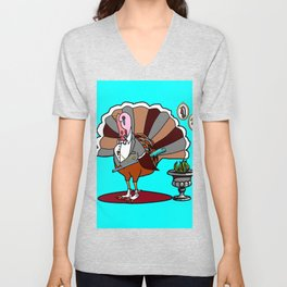 A Thanksgiving Dressed Turkey with a Rifle Unisex V-Neck