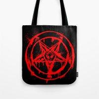 pentagram Tote Bags featuring Red Pentagram by brutalitees