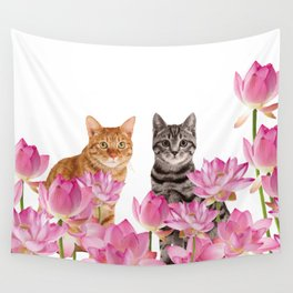 Red and Tiger cat in Lotos Flower Field Wall Tapestry