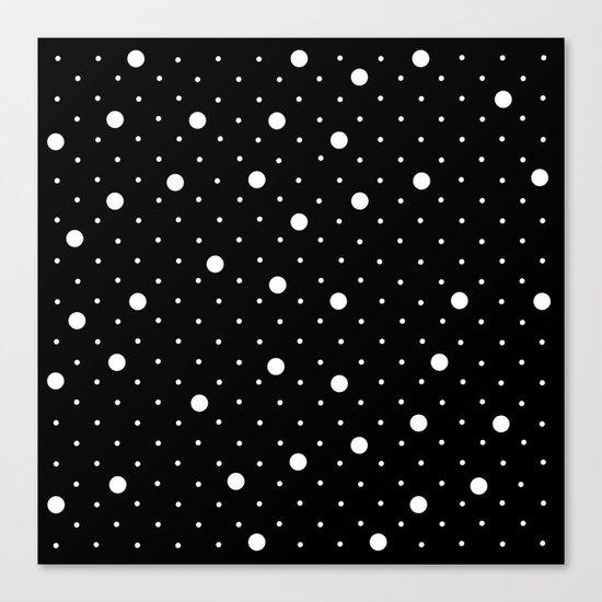 Pin Point Polka Dots White on Black Canvas Print
