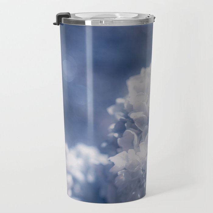 Grace and Beauty Defined a blue Hydrangea flower Travel Mug