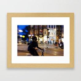 Night ride in Amsterdam Framed Art Print