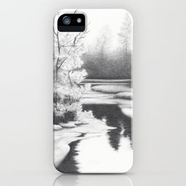 Graphite drawing landscape with river and trees iPhone Case