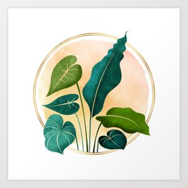 Opening Act / tropical greenery with metallic accent Art Print