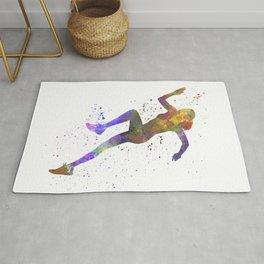 Woman runner running jogger jogging silhouette 03 Rug