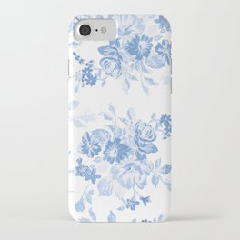 Modern navy blue white watercolor elegant floral iPhone Case